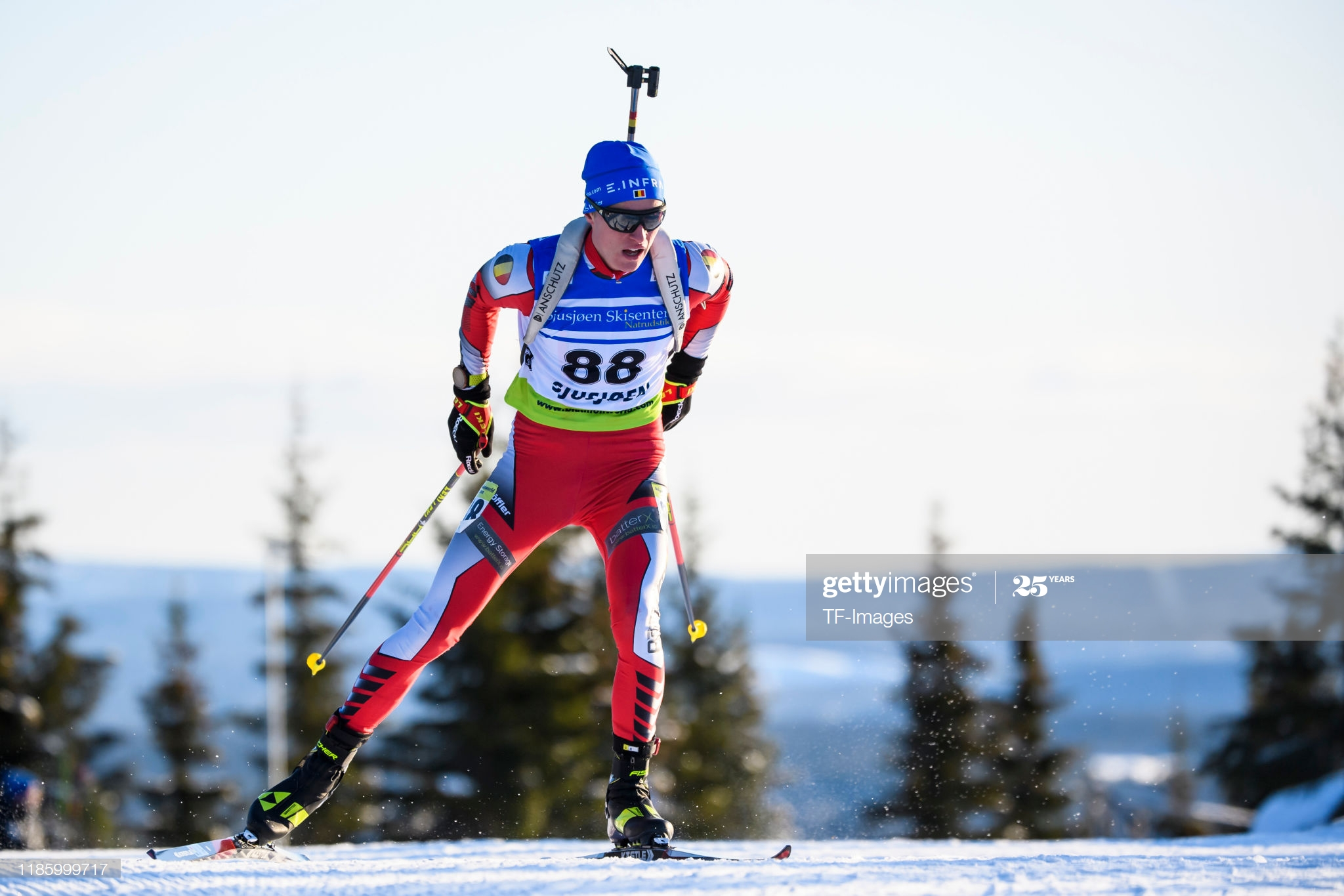 SJUSJOEN, NORWAY - NOVEMBER 30: Pjotr Karel A Dielen of Belgium in action competes during the Men 10 km Sprint Competition of the IBU Cup Biathlon Sjusjoen on November 30, 2019 in Sjusjoen, Norway. (Photo by TF-Images/Getty Images)