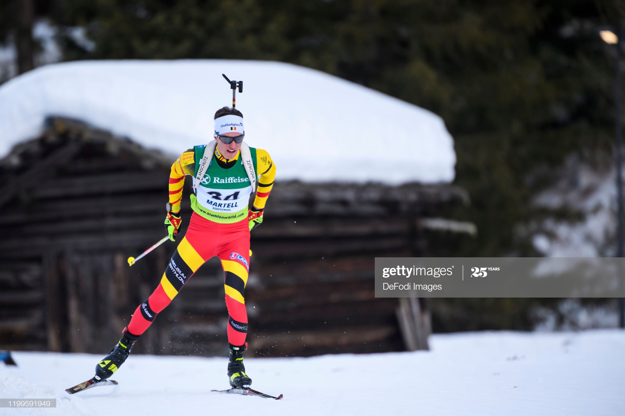 MARTELL-VAL MARTELLO, ITALY - FEBRUARY 08: (BILD ZEITUNG OUT) Pjotr Karel A Dielen of Belgium in action competes during the Men 10 km Sprint Competition of the IBU Cup Biathlon Martell-Val Martello on February 8, 2020 in Martell-Val Martello, Italy. (Photo by Kevin Voigt/DeFodi Images via Getty Images)