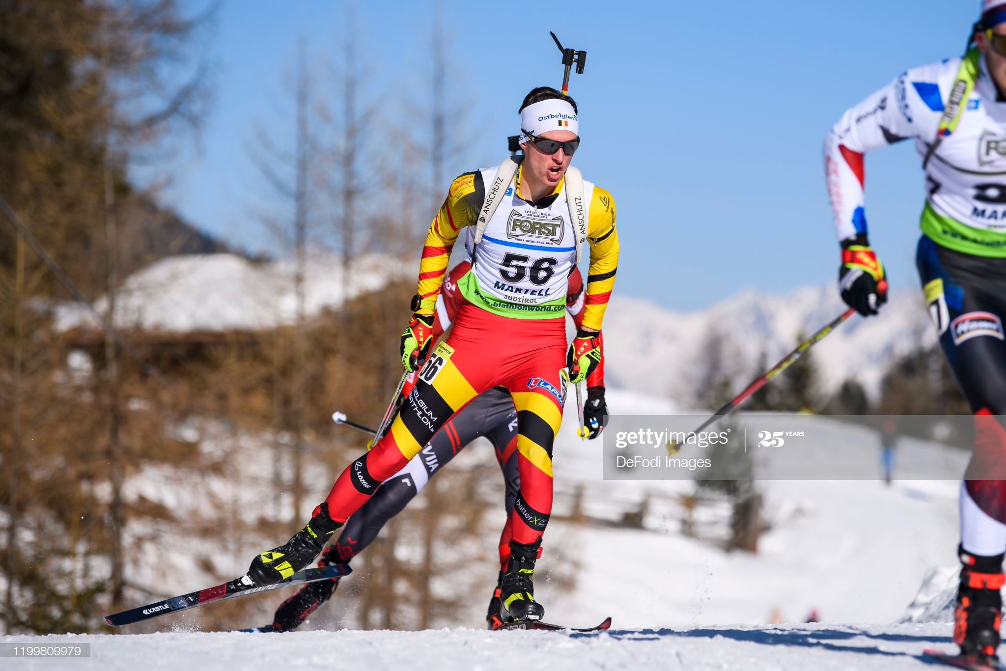 MARTELL-VAL MARTELLO, ITALY - FEBRUARY 09: (BILD ZEITUNG OUT) Pjotr Karel A Dielen of Belgium in action competes during the Men 15 km Mass Start 60 of the IBU Cup Biathlon Martell-Val Martello on February 9, 2020 in Martell-Val Martello, Italy. (Photo by Kevin Voigt/DeFodi Images via Getty Images)